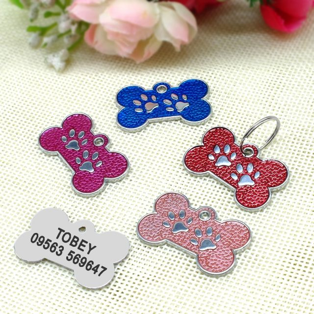GLITTER BONE: Personalized Dog Tags Engraved Cat Puppy Pet ID Name Collar Tag Pendant Pet Accessories Bone/Paw Glitter