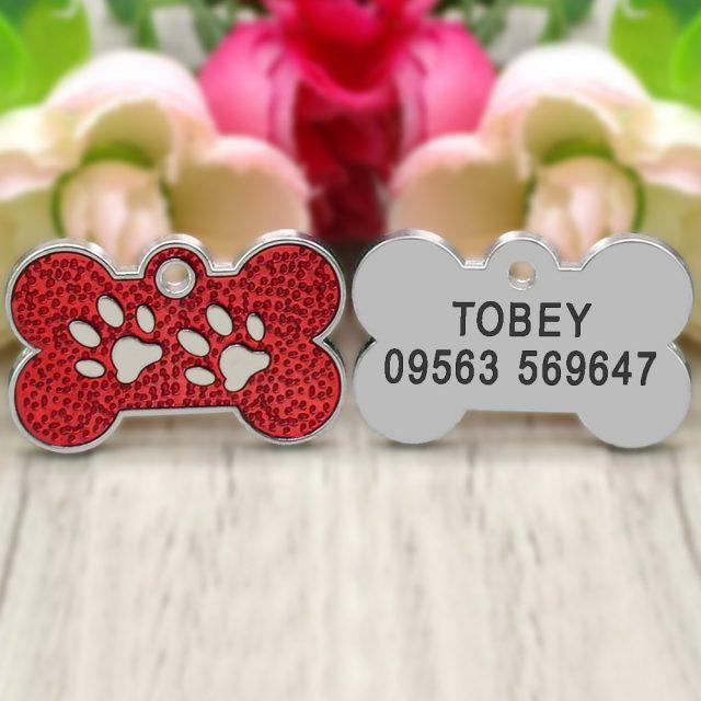 Glitter Bone-Shaped Engraved Pet ID Tag (4 Colors)