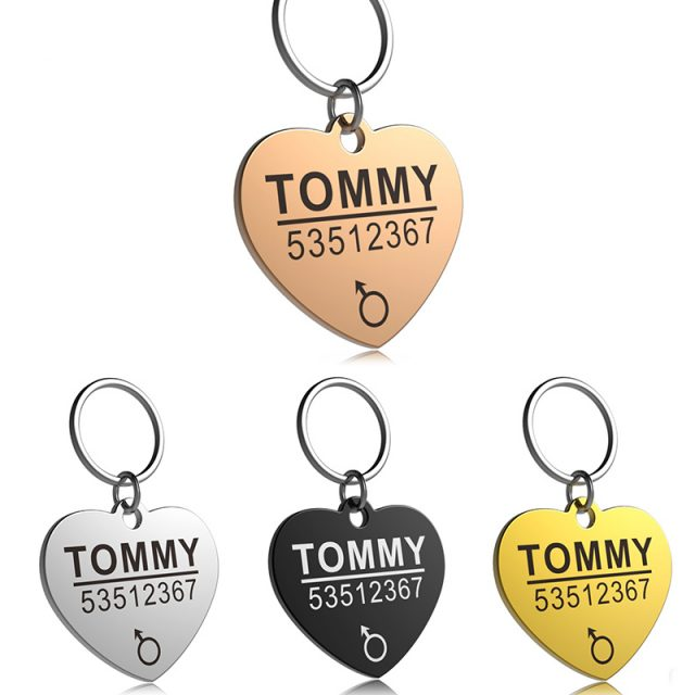 LOVE: FLOWGOGO Anti-lost Stainless Steel Dog ID Tag Engraved Pet Cat Puppy Dog Collar Accessories Telephone Name Tags Pet ID Tags
