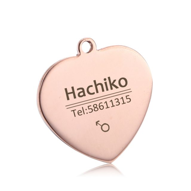 Love-Shaped Stainless Steel Engraved Pet ID Tag (4 Colors)