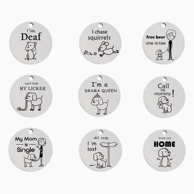 Cute Cartoon Round Stainless Steel Engraved Pet ID Tag (9 Designs)