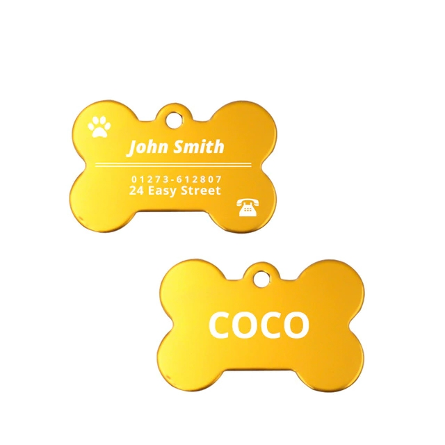 Bone Shaped Stainless Steel Engraved Pet ID Tag